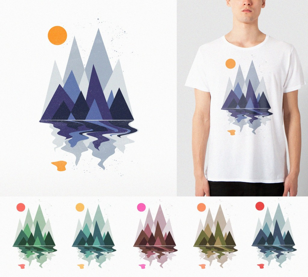 Custom t-shirt design of a mountain scene